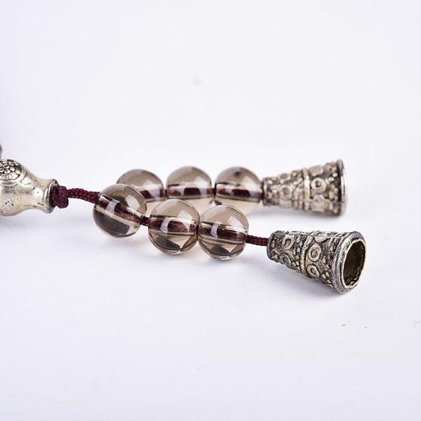 Asingeloo bouddhiste tib tain Handmad naturel fumer Quartz pierre pri re perles bouddha Bracelet chapelet Bracelets 2
