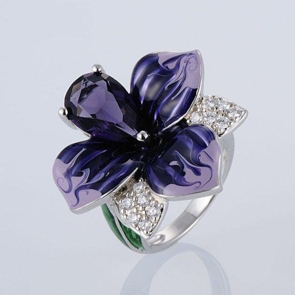 Femmes la mode Vintage p tale fleur la main mail argent anneaux grand violet Zircon mariage 3