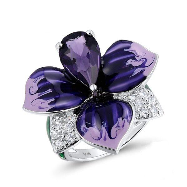 Femmes la mode Vintage p tale fleur la main mail argent anneaux grand violet Zircon mariage