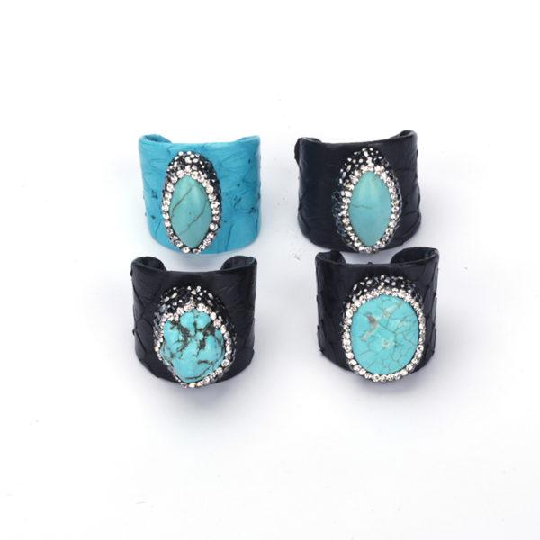 KEJIALAI bijoux de luxe bleu Turquoises perle Pave strass charmes noir r el serpent en cuir 2