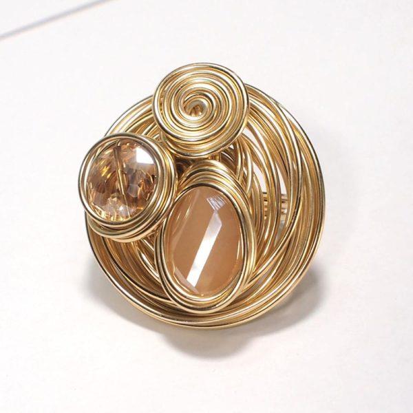 MANILAI Boho fait la main gros anneaux de cristal de Champagne pour les femmes bijoux de 14