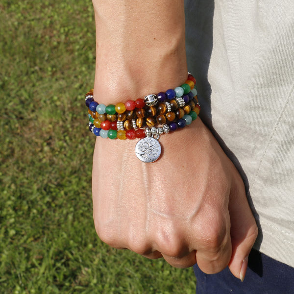 Naturel 7 Chakra il de tigre Mala Bracelets 108 bouddha gu rison Yoga Bracelet pour femmes