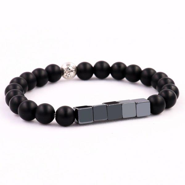 Naturel r tro noir mat Onyx perles de pierre ronde Sqaure Bracelet de minerai de fer 2