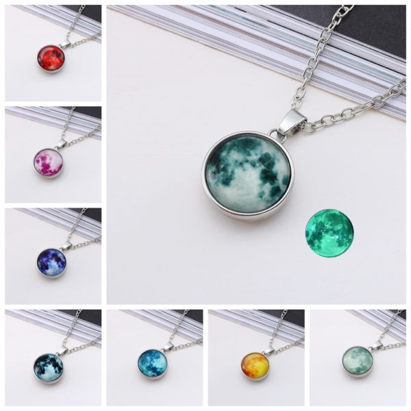 Nouveaut chaude bijoux lumineux collier pleine lune fait la main d me en verre collier clipse