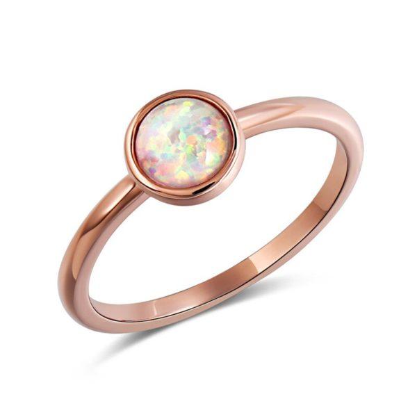 Opale de feu australienne anneaux pour femmes bague de fian ailles Zircon lune pierre or Rose 4