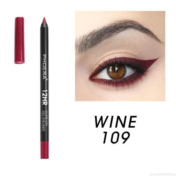 PHOERA 12 couleurs color mat Eyeliner durable tanche fum e yeux maquillage naturel rouge bleu noir