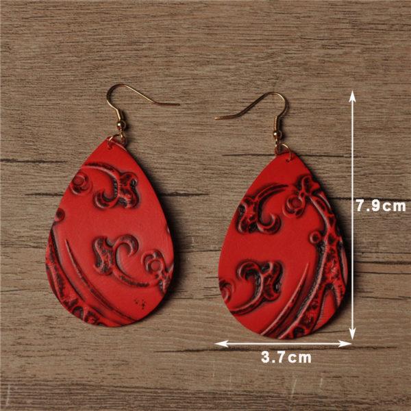 V ritable goutte d eau Pu cuir boucles d oreilles 6 couleurs fleur impression Design v 1
