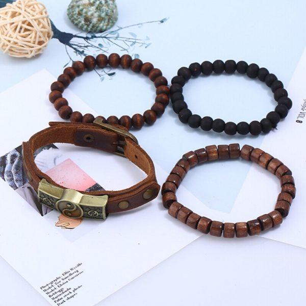 XIAOJINGLING 4 pi ces ensemble fait la main Bracelet Bracelets pour hommes Vintage Yin Yang Bracelet 2